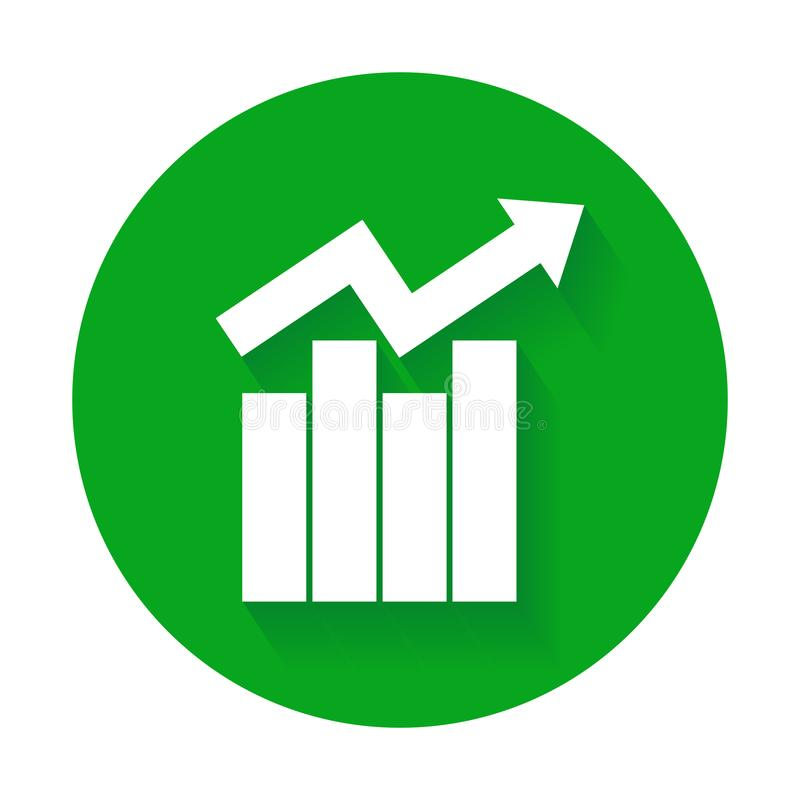 Growth bar chart icon. Growing diagram flat vector illustration. Business concept royalty free illustration