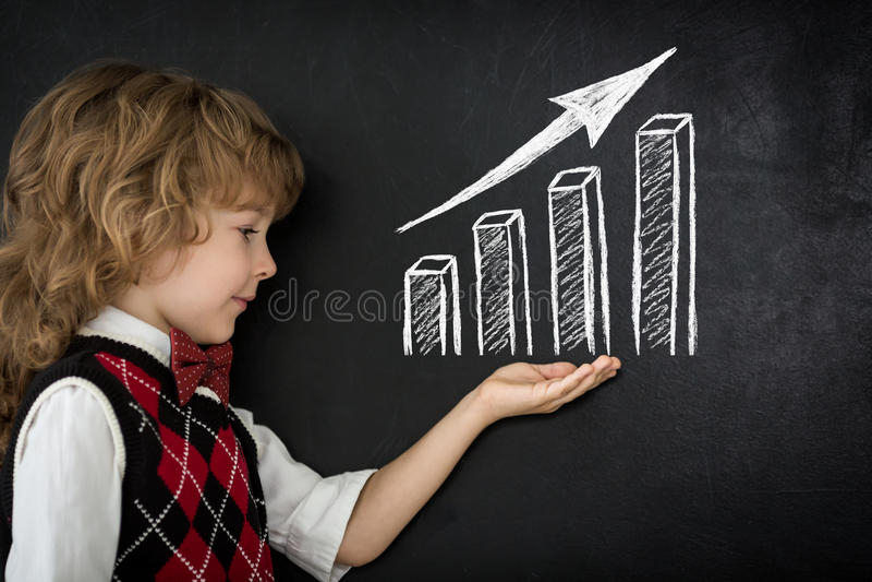 Growth bar graph stock image