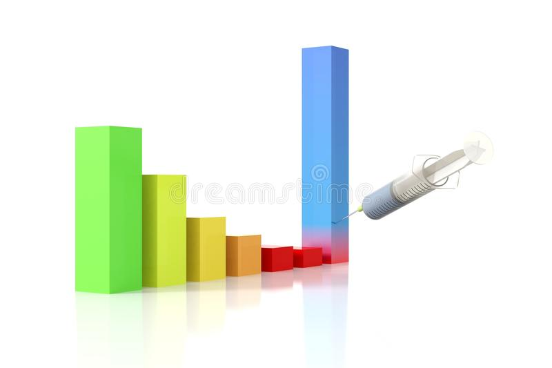 Growth bars graph injection royalty free illustration