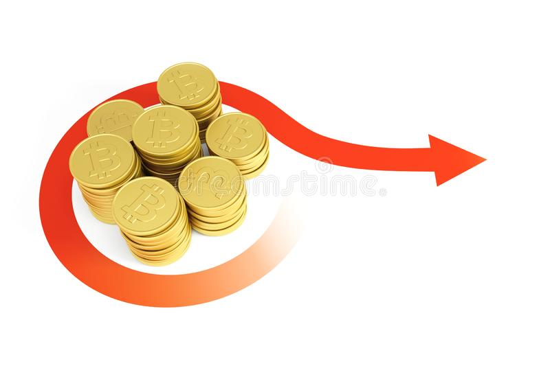 Growth of bitcoin currency, 3d render stock illustration