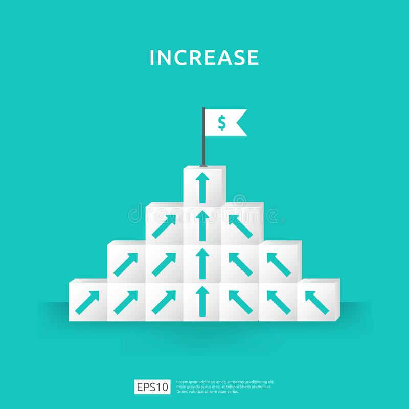 Growth business increase concept with stacking block. step stair ladder with arrow up vector illustration for success process, vector illustration