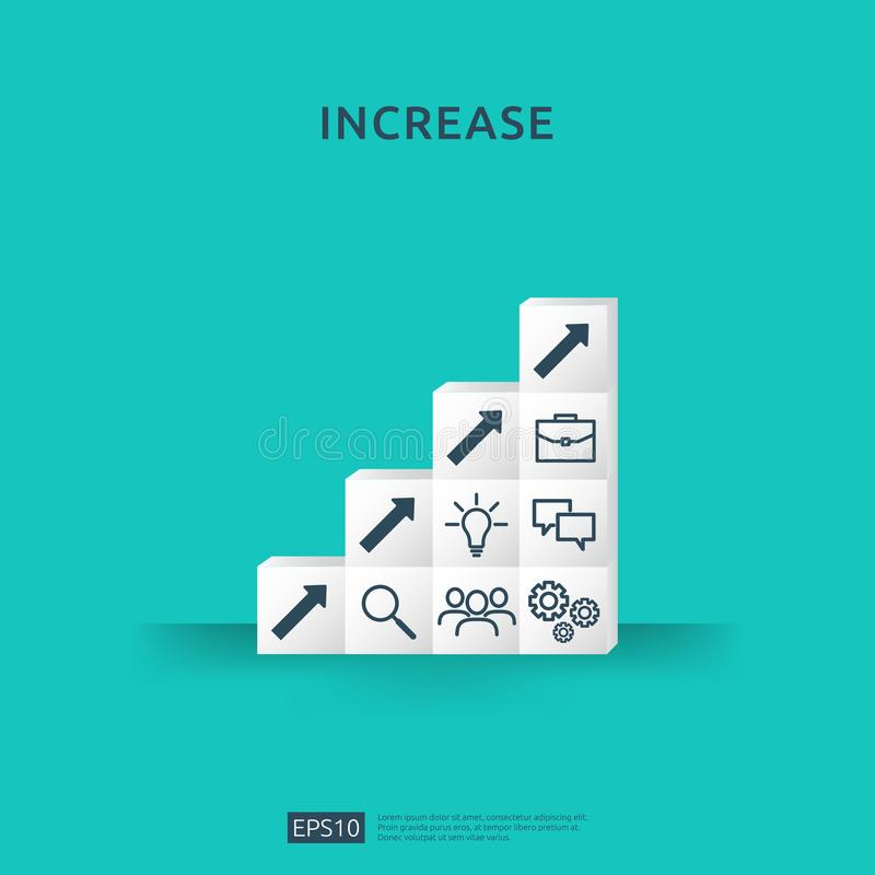 Growth business increase concept with stacking block. step stair ladder with arrow up vector illustration for success process, royalty free stock photo