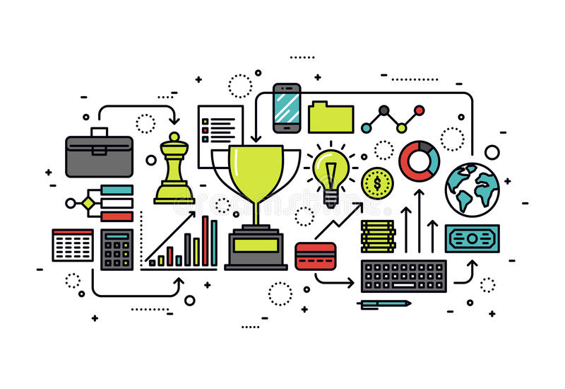 Growth business line style illustration. Thin line flat design of growth business opportunity, market strategy solution, winning tactics for success leadership stock illustration