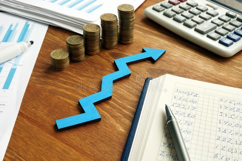 Growth business success with arrow and financial report stock photos
