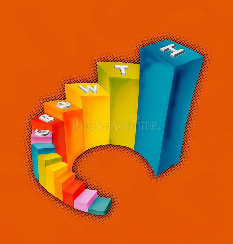 Growth chart. Shown here with colorful progressive bars royalty free illustration