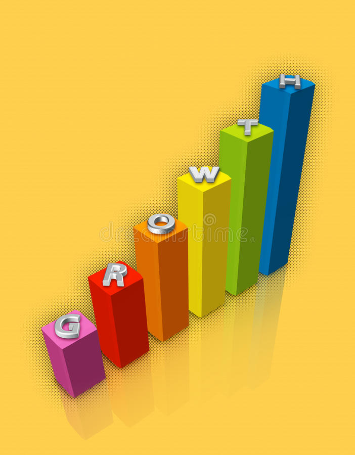 Growth chart. Shown here with colorful progressive bars stock illustration