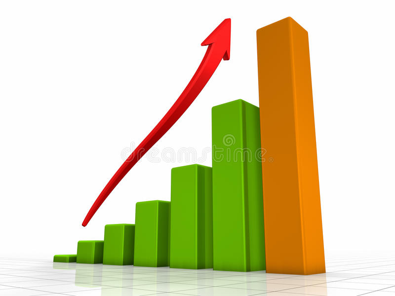 Growth Chart. Green bars - the highest one is orange, red arrow pointing upwards stock illustration