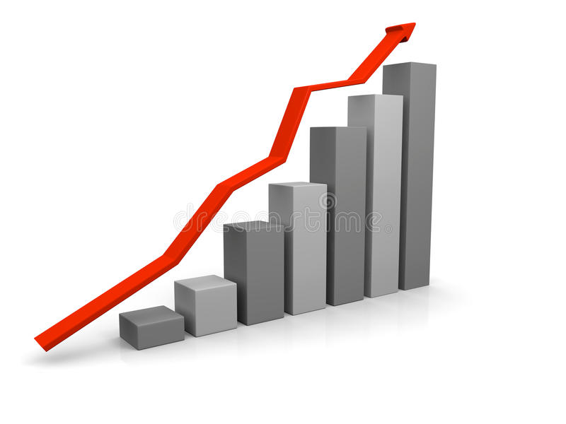 Growth chart. 3D illustration of growth chart with red trend line stock illustration