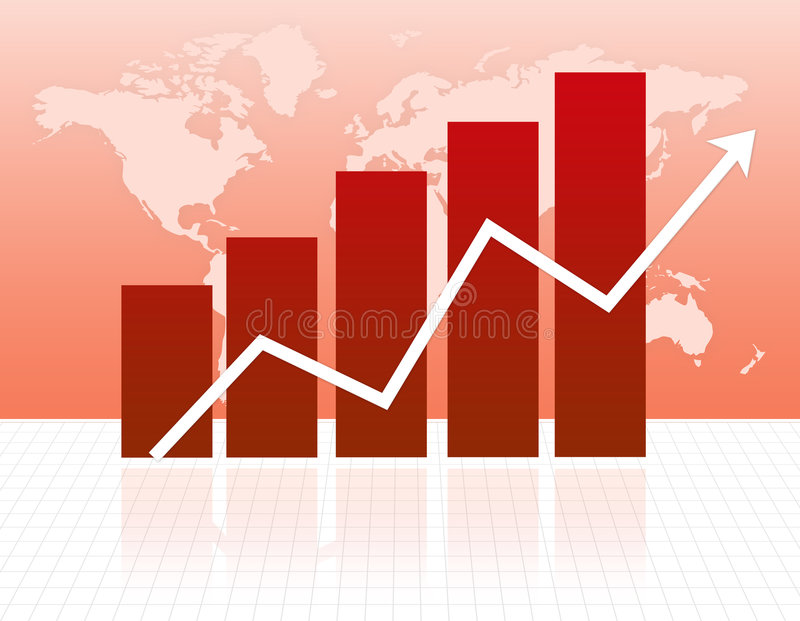 Growth chart. Illustration of a bar chart and Arrow on grid with world map background royalty free illustration