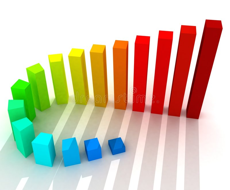 Growth chart. 3d colorful rendering of the growth chart stock illustration
