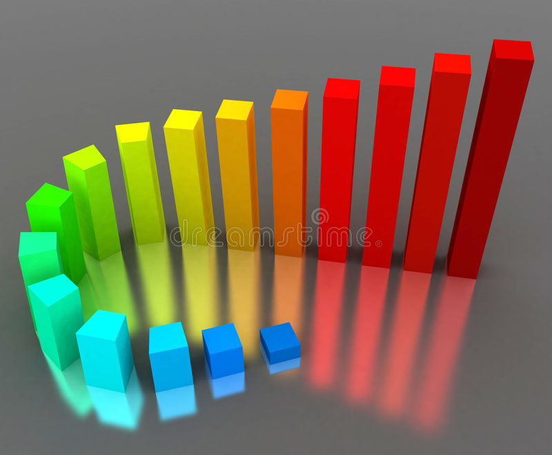 Growth chart. 3d colorful rendering of the growth chart vector illustration