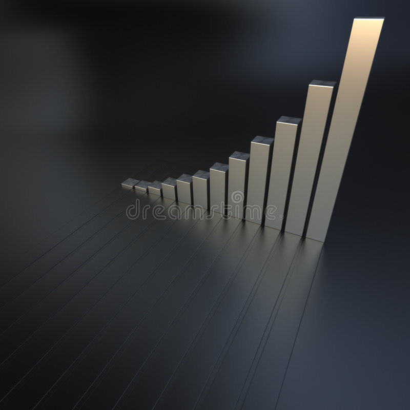 Growth chart. 3D Business chart in a metallic texture royalty free illustration