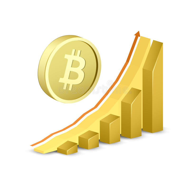 Download Growth Chart With Bitcoin Sign Stock Vector