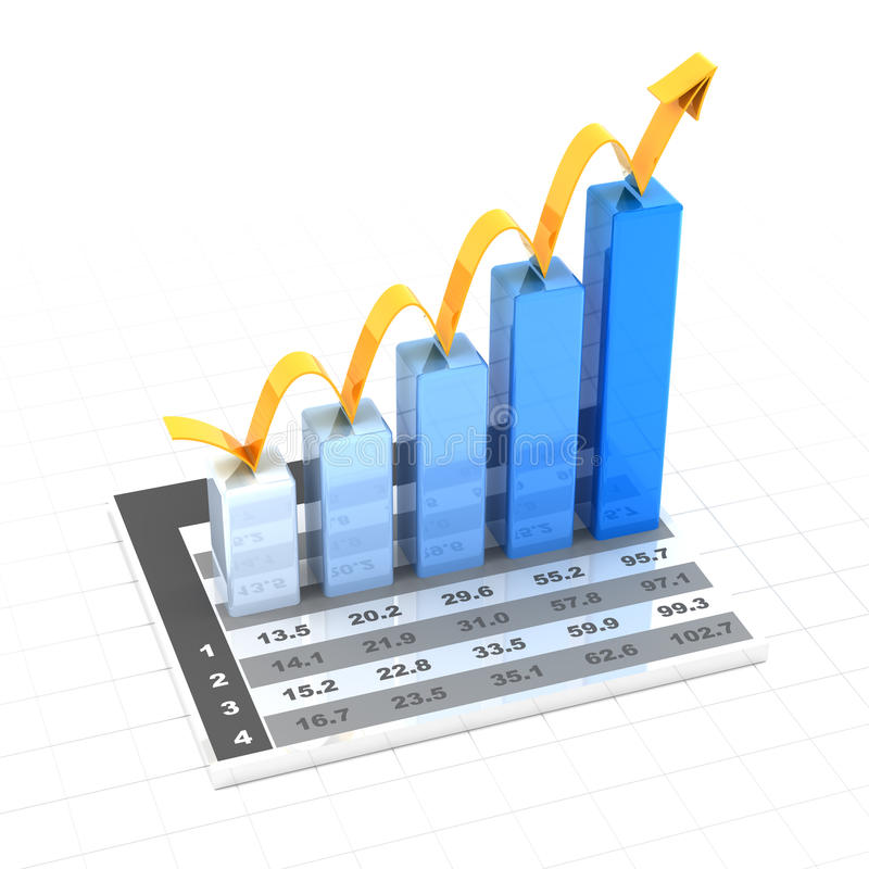 Growth chart with data, 3d render stock illustration