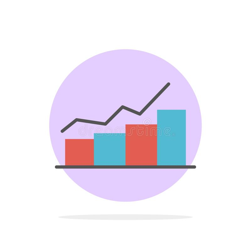Growth, Chart, Flowchart, Graph, Increase, Progress Abstract Circle Background Flat color Icon royalty free illustration