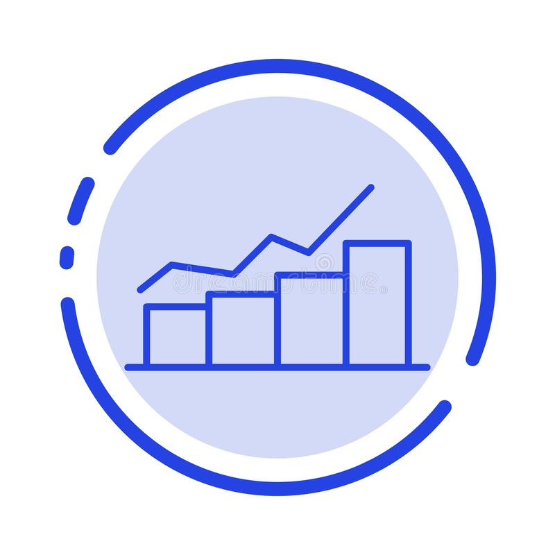 Growth, Chart, Flowchart, Graph, Increase, Progress Blue Dotted Line Line Icon vector illustration