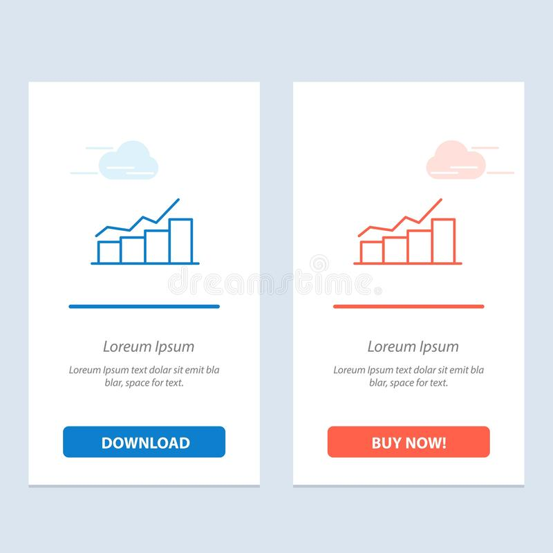 Growth, Chart, Flowchart, Graph, Increase, Progress  Blue and Red Download and Buy Now web Widget Card Template stock illustration