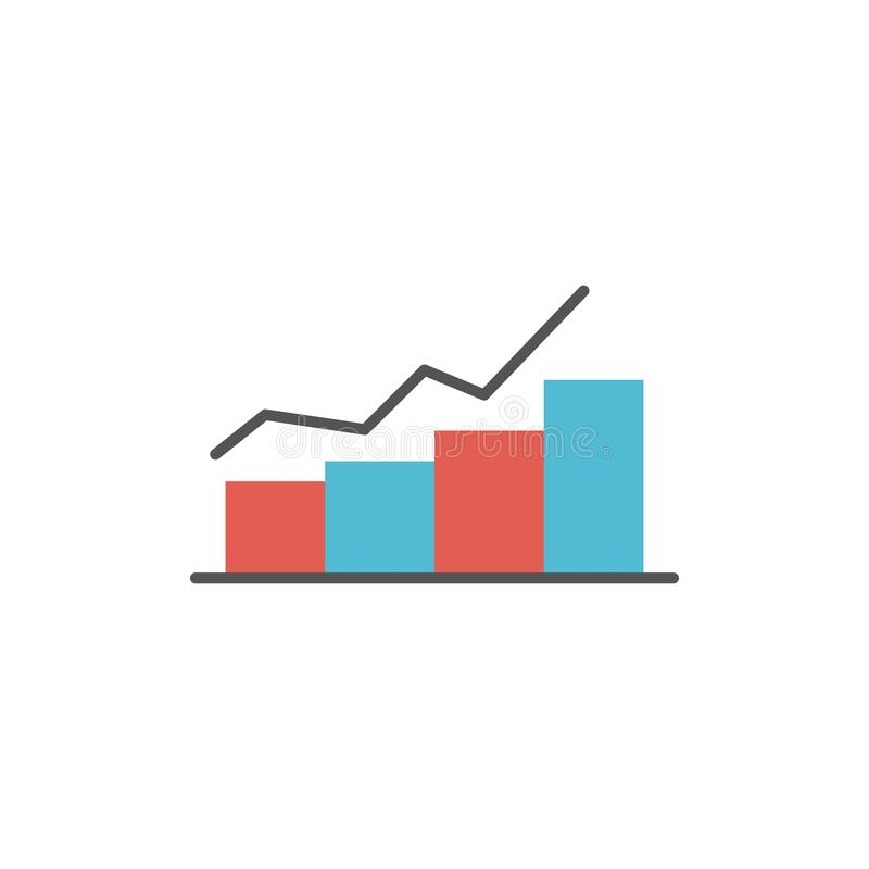 Growth, Chart, Flowchart, Graph, Increase, Progress  Flat Color Icon. Vector icon banner Template stock illustration