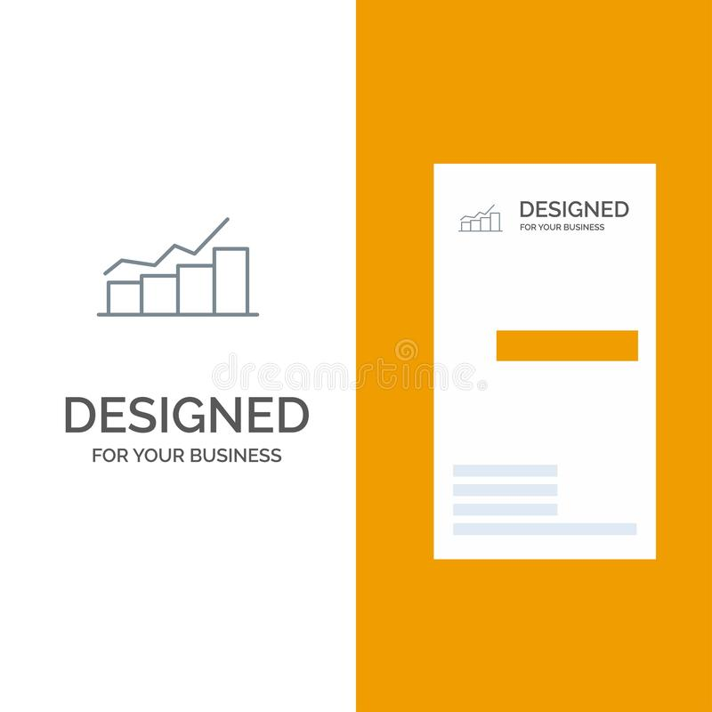 Growth, Chart, Flowchart, Graph, Increase, Progress Grey Logo Design and Business Card Template stock illustration