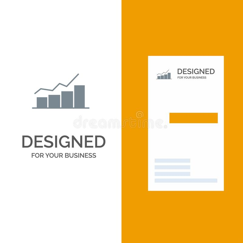 Growth, Chart, Flowchart, Graph, Increase, Progress Grey Logo Design and Business Card Template royalty free illustration