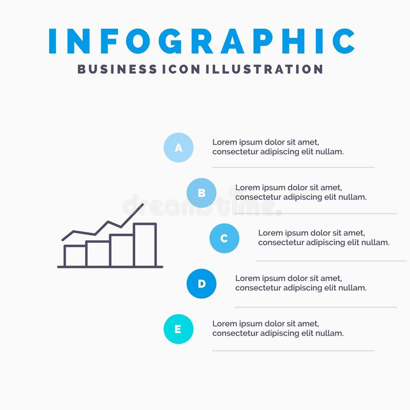 Growth, Chart, Flowchart, Graph, Increase, Progress Line icon with 5 steps presentation infographics Background royalty free illustration