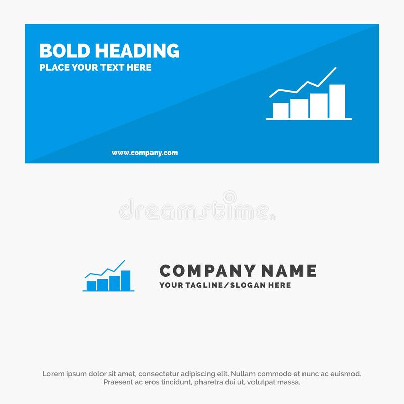 Growth, Chart, Flowchart, Graph, Increase, Progress SOlid Icon Website Banner and Business Logo Template royalty free illustration