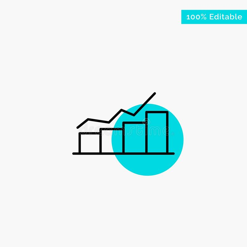 Growth, Chart, Flowchart, Graph, Increase, Progress turquoise highlight circle point Vector icon vector illustration