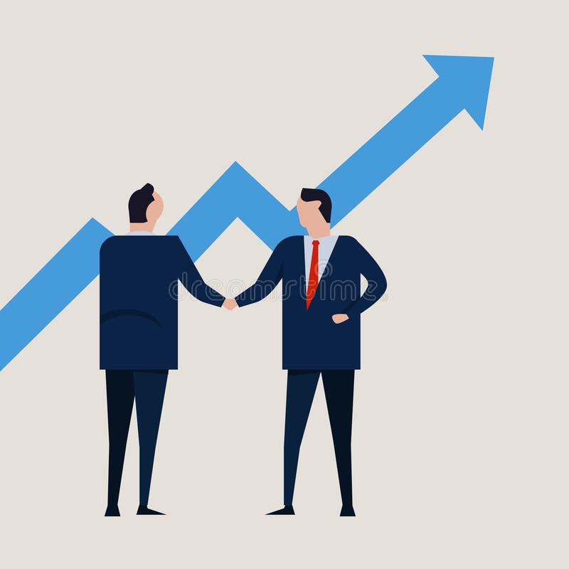 Growth chart going up. increase value investment. Business people agreement standing handshake wearing suite formal stock illustration