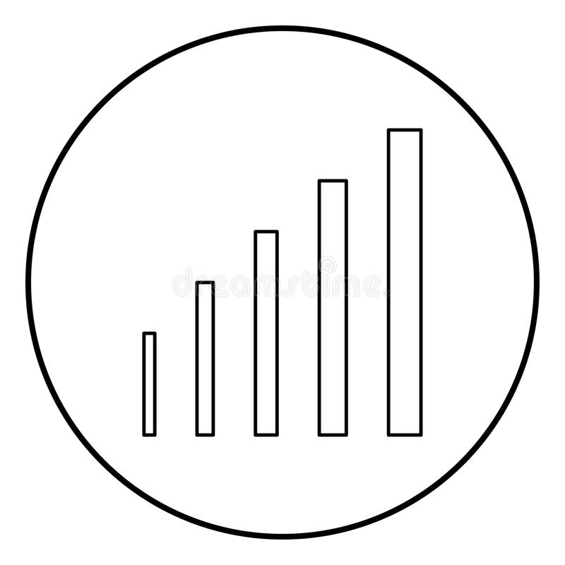 Growth chart icon black color in circle round royalty free illustration