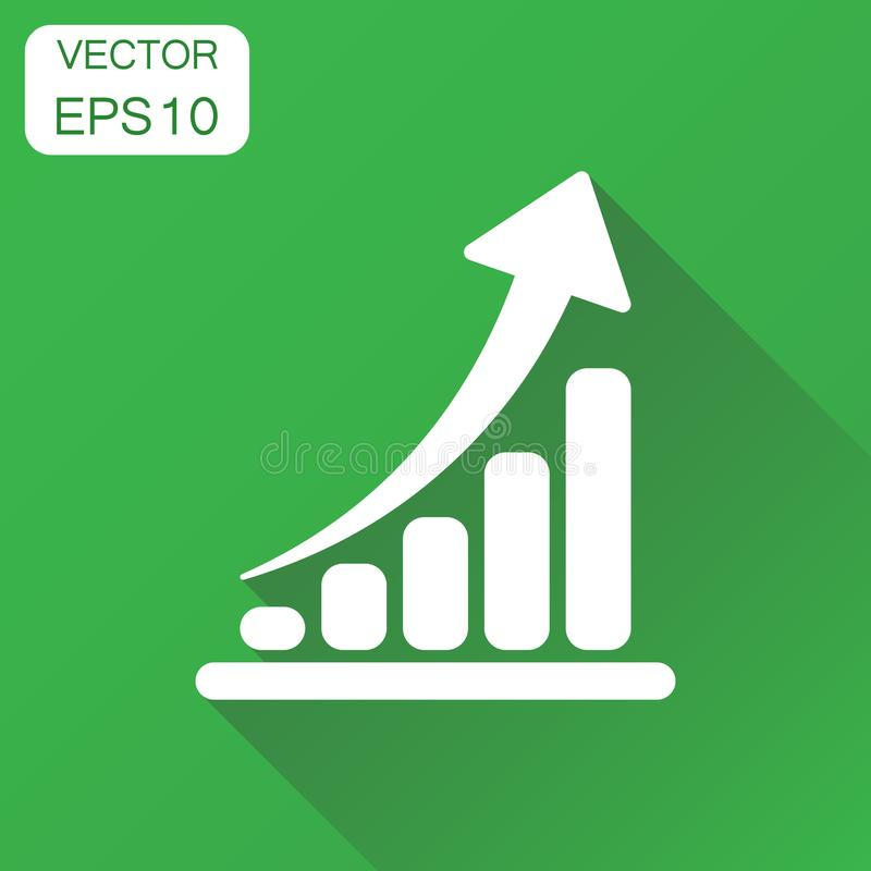Growth chart icon. Business concept grow diagram pictogram. Vector illustration on green background with long shadow. royalty free illustration