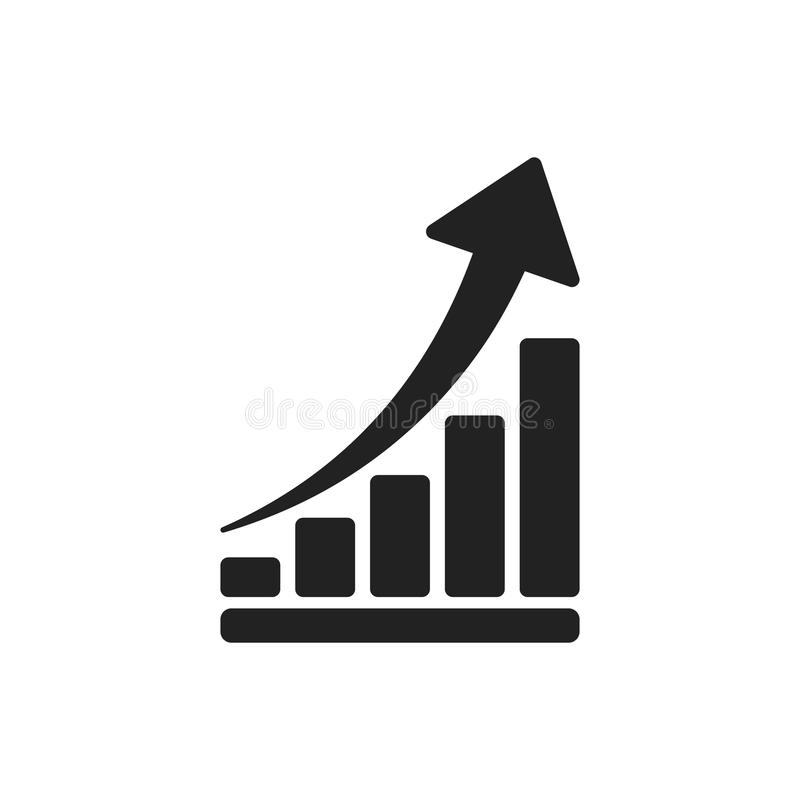 Growth chart icon. Grow diagram flat vector illustration. Busine stock illustration