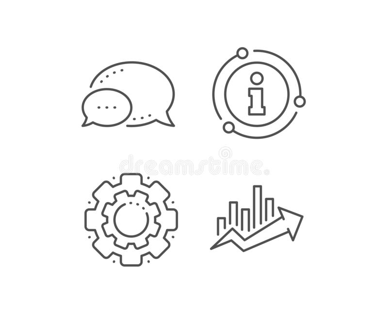 Growth chart line icon. Discount sign. Vector. Growth chart line icon. Chat bubble, info sign elements. Discount sign. Sale diagram symbol. Linear growth chart stock illustration
