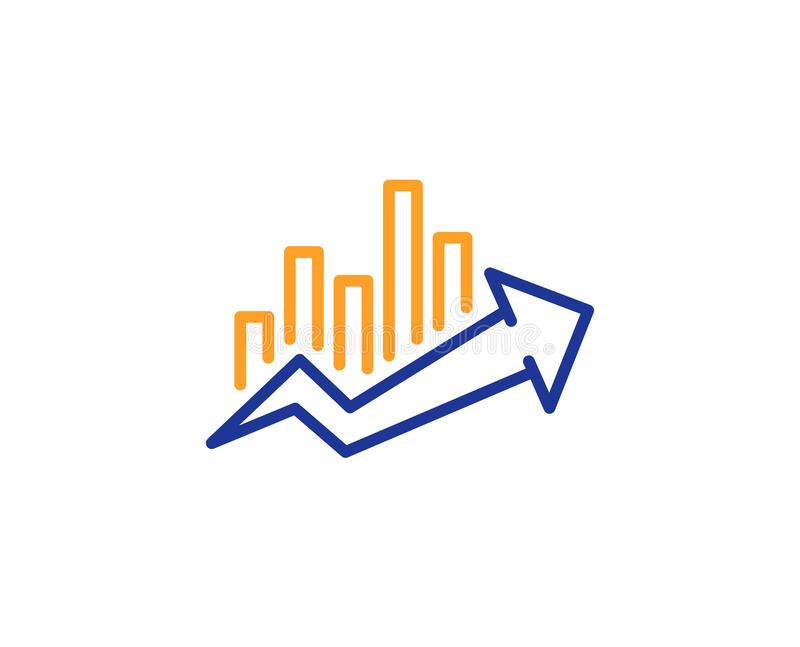Growth chart line icon. Discount sign. Vector. Growth chart line icon. Discount sign. Sale diagram symbol. Colorful outline concept. Blue and orange thin line stock illustration