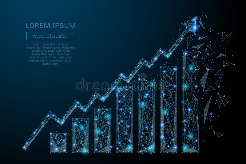 Growth chart low poly blue. Abstract image of a growth chart in the form of a starry sky or space, consisting of points, lines, and shapes in the form of planets royalty free illustration