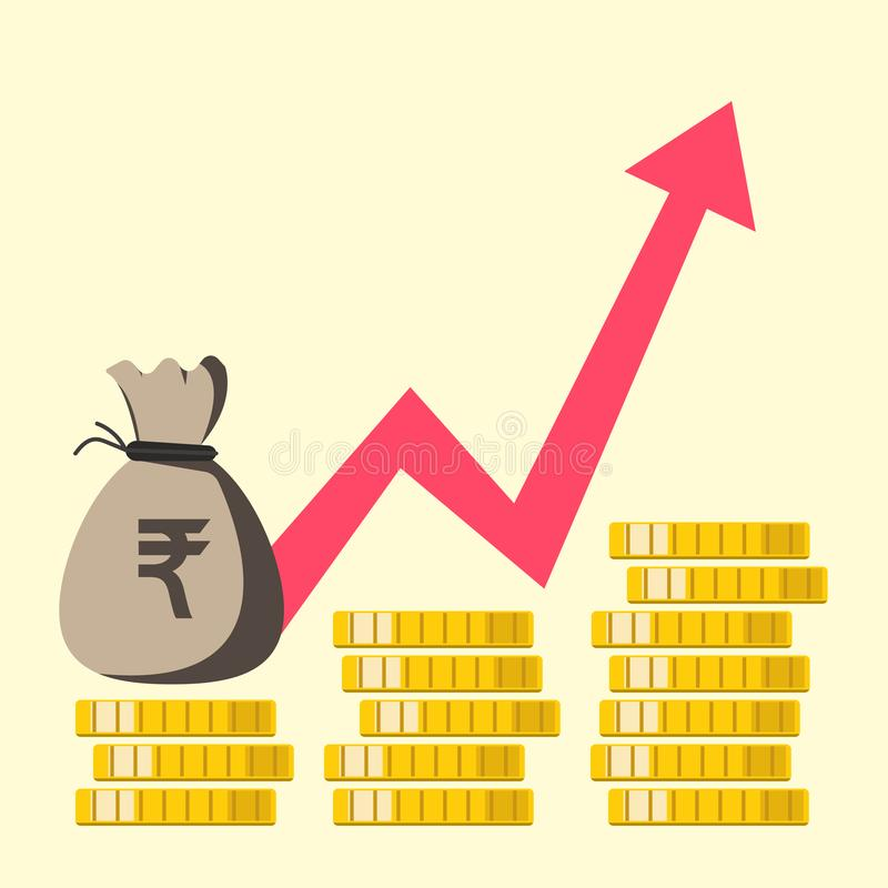 Growth chart rupee Indian. financial leap up. vector flat design. Eps10 royalty free illustration