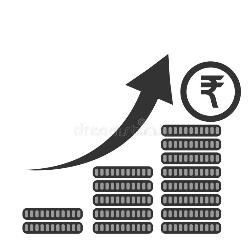 Growth chart rupee Indian. financial leap up. vector flat design. Eps10 vector illustration