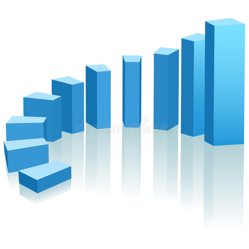 Growth chart upward progress arc. A growth chart of upward progress as an arc of blue bars