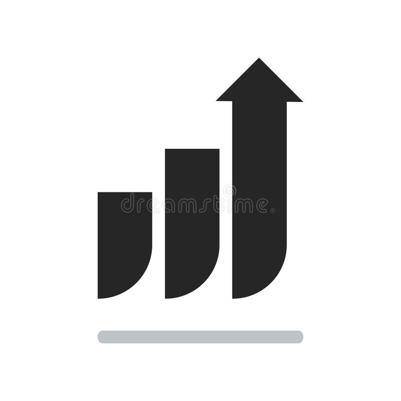 Growth chart vector icon isolated on white background stock photos