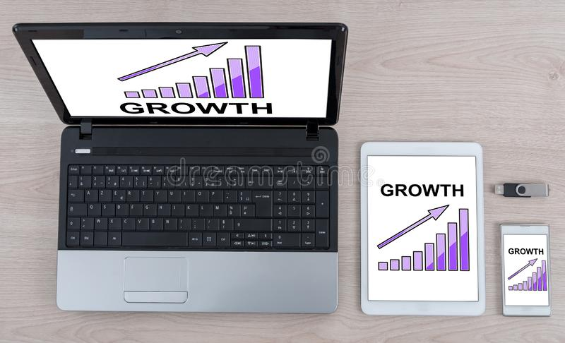 Growth concept on different devices. Growth concept shown on different information technology devices royalty free stock photo