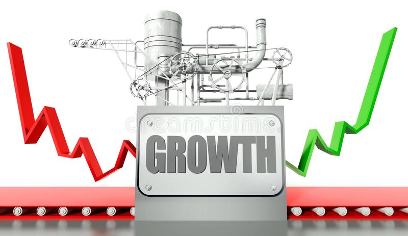 Growth concept with graph and machine vector illustration