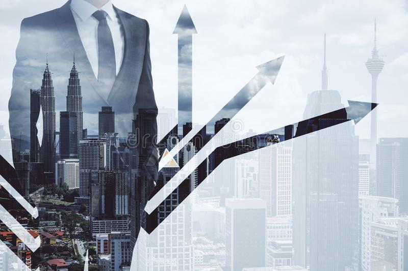 Growth concept and personality development with multiexposure of businessman and arrows stock image