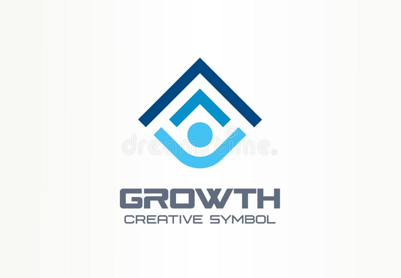Growth creative symbol concept. Human professional progress abstract business leader logo. Person career success, best. Education, arrow shield icon. Corporate stock illustration