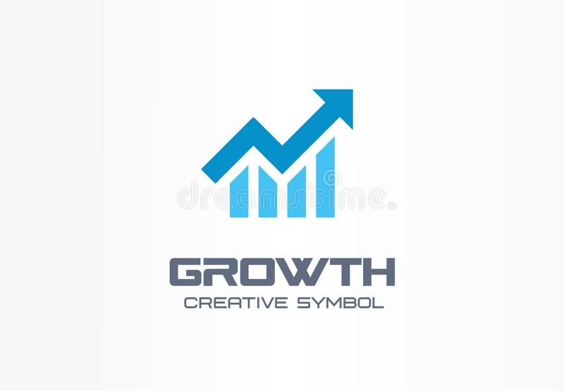Growth creative symbol concept. Increase, bank profit, grow up arrow abstract business logo. Stock finance market. Progress line, graph chart icon. Corporate royalty free illustration