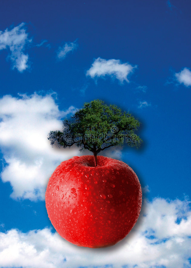 Growth and creativity. Red apple with a tree growing out of it over a blue cloudy sky