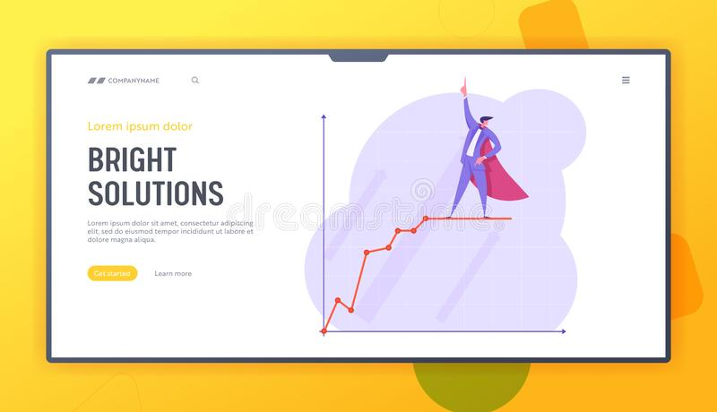 Growth Data Analysis Arrow Graph Website Landing Page, Business Man in Super Hero Cape Stand on Growing Chart. Financial Profit Statistic Diagram Web Page royalty free illustration