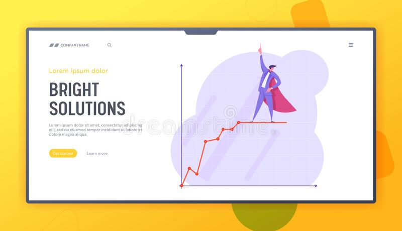 Growth Data Analysis Arrow Graph Website Landing Page, Business Man in Super Hero Cape Stand on Growing Chart. Financial Profit Statistic Diagram Web Page stock illustration