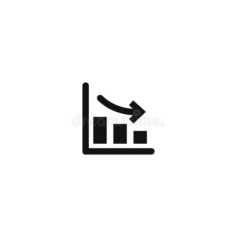 Growth down. vector illustration on white background. Eps10, graph, concept, arrow, business, data, graphic, icon, presentation, report, success, symbol, chart vector illustration