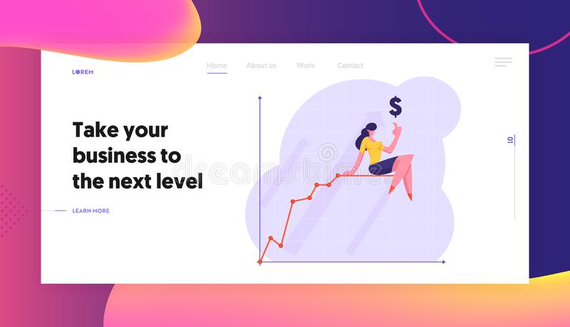 Growth Financial Profit Statistic Diagram Website Landing Page, Business Woman Pointing Finger Up to Dollar Sign. Sitting on Top of Growing Chart Line Web Page royalty free illustration