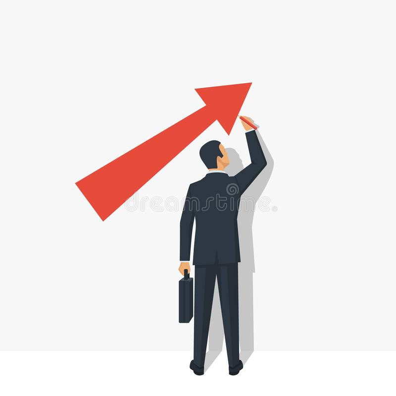 Growth graph concept. Businessman in suit draws chart of financial growth. Vector illustration flat design. Isolated on white background. Profit Stock Market stock illustration