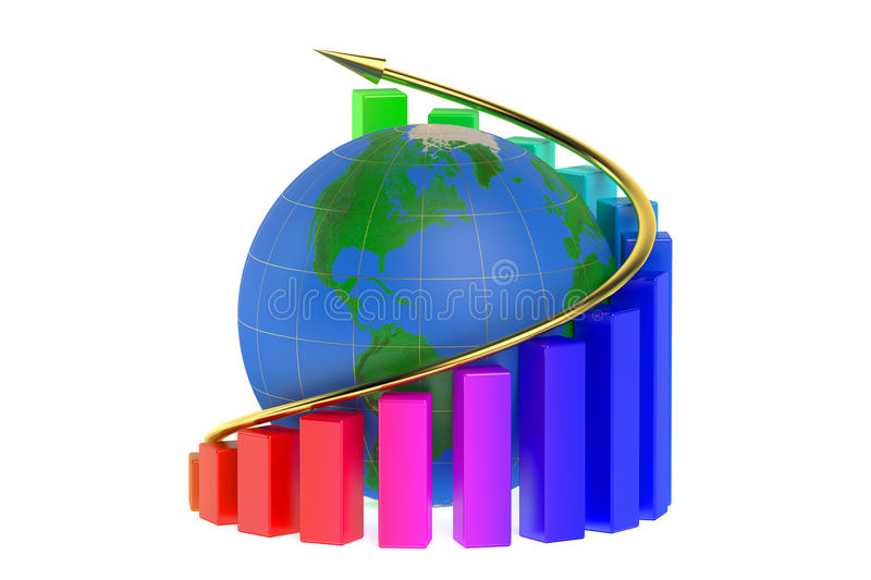 Growth graph with globe royalty free illustration